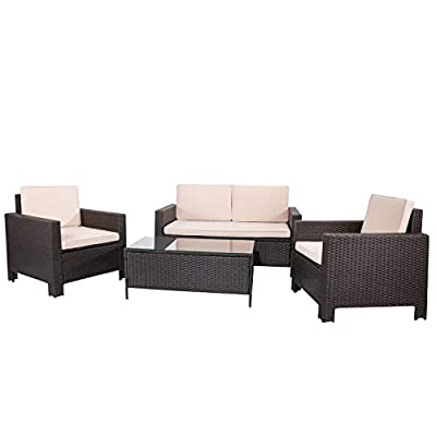 Flamaker 4 Pieces Outdoor Patio Furniture Sets Outdoor Conversation Set Poolside Lawn Chairs with Coffee Table for Poolside and Backyard (Deep Brown)