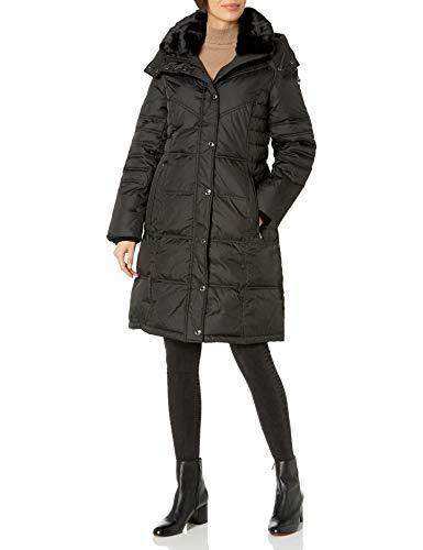 London Fog Women's Chevron Coat with Faux Fur Trimmed Hood, Black, X-Large