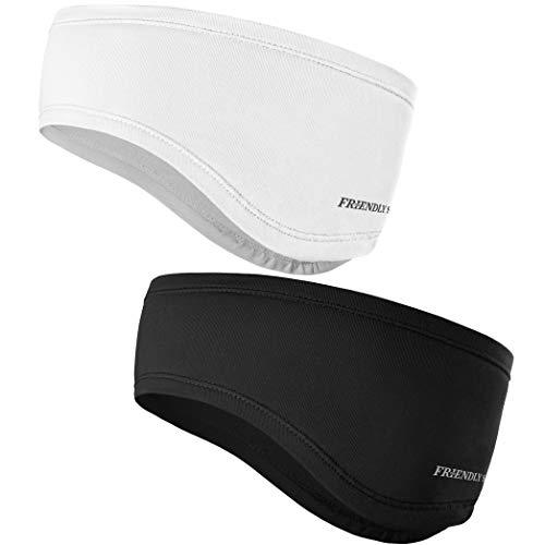 The Friendly Swede Stirnband 2-er Set - Kopfband, Headband für optimalen Ohrenschutz beim Jogging, Laufen, Wandern, Fahrrad- und Motorrad Fahren - Stirnbänder für Damen und Herren (Schwarz + Weiss)