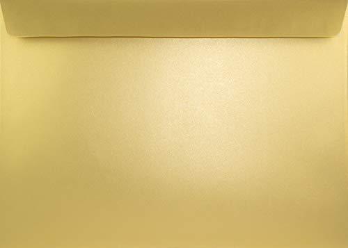 10 Perlmutt-Gold Briefumschläge DIN C4 ohne Fenster 229 x 324 mm gerade Klappe haftklebend 125g Sirio Pearl Aurum große Briefkuverts glänzend für Fotos Urkunden Zertifikate Dokumente Verträge
