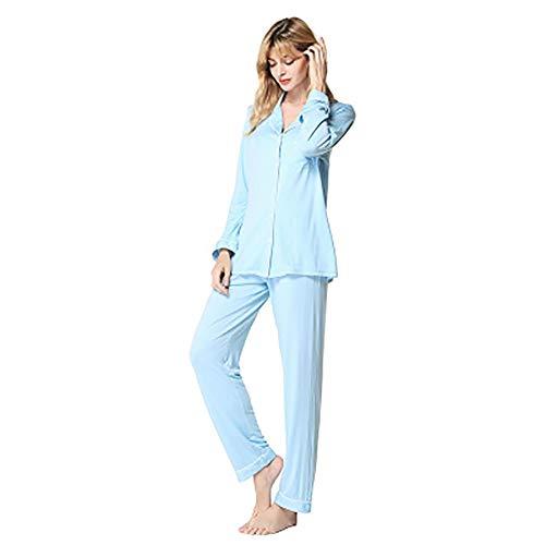 2 Piece Vrouwen Pajama Set Modal Katoen Lange nachtkleding Nachtkleding Loungewear