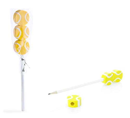 COSAS43 DETALLES PARA INVITADOS BODA-COMUNION-BAUTIZO Packung mit 30 Bleistiften mit 3 Radiergummis Tennisball Kindergeschenk für alle Arten von Events.