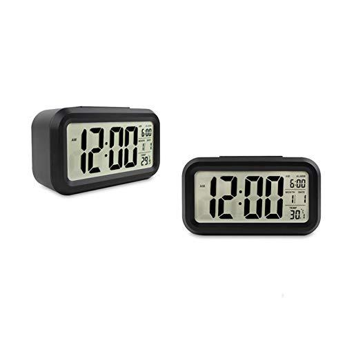Isuper Alarma Digital Forma del Reloj del rectángulo Reloj Inteligente Hablar LED Reloj Despertador con Temperatura Interior, Calendario-Blanco de la Cara de Shell Negro