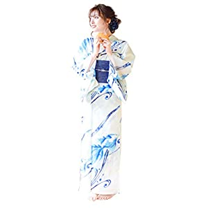 (ディータ) Dita 1人で着られる浴衣 フルセット レディース 浴衣(ゆかた) 帯(おび) 下駄(ゲタ) 3点 +腰ひも & 着付けマニュアル 計5点 6:夕凪の幻想金魚