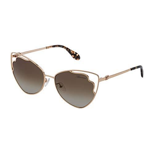 Blumarine SBM152 0300 57-16-140 - Gafas de sol para mujer, oro rosado brillante, total lentes de camel degradado