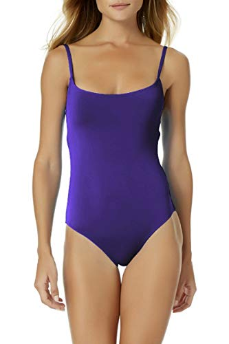 Anne Cole Classic Moderate Leg Maillot One Piece Swimsuit Purple