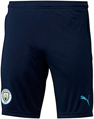 Formula 1 Manchester City FC Mens Manchester City FC Training Shorts W/Zip Pockets, Peacoat-Team Light Blue, M