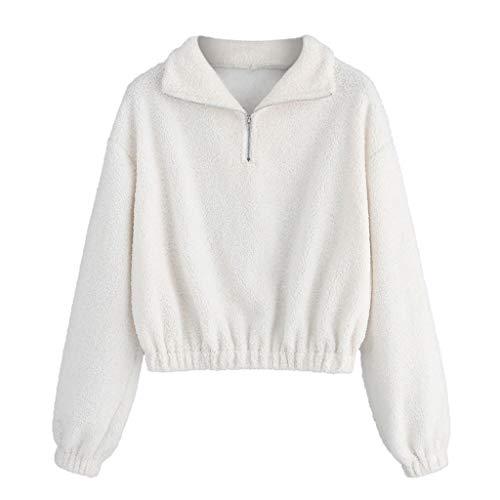 VJGOAL Top dames pullover sweatshirt meisjes effen vrije tijd grote maten revers ritssluiting korte hak lange mouwen blouse