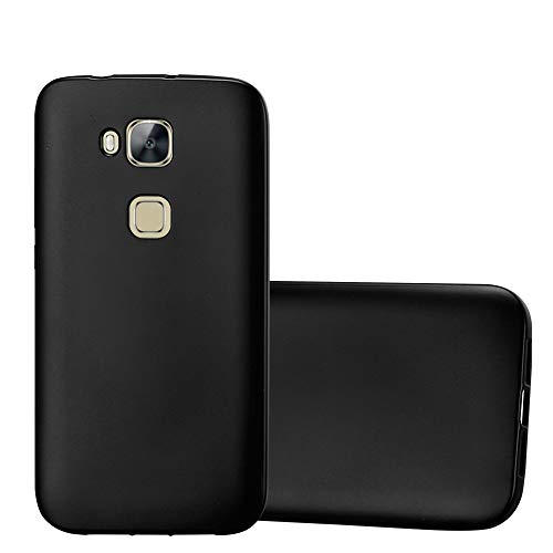 Cadorabo Hülle für Huawei G7 Plus / G8 / GX8 - Hülle in METALLIC SCHWARZ – Handyhülle aus TPU Silikon im Matt Metallic Design - Silikonhülle Schutzhülle Ultra Slim Soft Back Cover Case Bumper
