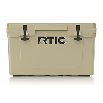 RTIC Hard Cooler 45 qt Tan Ice Chest with Heavy Duty Rubber Latches 3 Inch Insulated Walls