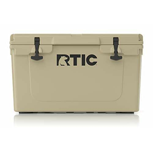 RTIC Hard Cooler, 45 qt, Tan, Ice Chest with Heavy Duty Rubber...