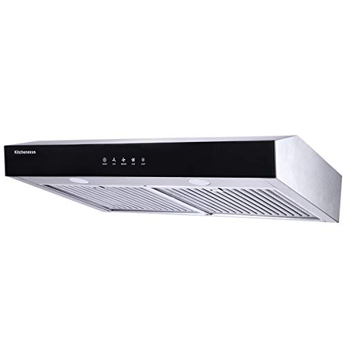 Range Hood 30 inch,Kitchenexus Stainless Steel Touch Screen Display Ducted/ductless Under Cabinet Black Kitchen Vent Hood with LED Lighting and...