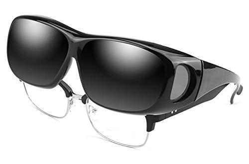 Perfectmiaoxuan Sonnenbrille Polarisiert Unisex Brille Überbrille für Brillenträger,{Sonnenüberbrille über normale Brillen} sunglasses Fit Over Glasses Brille Herren Damen (1black Lens Width:65mm)