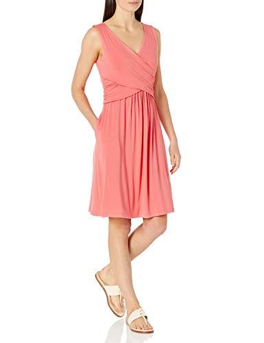 Amazon Essentials Vestido Cruzado sin Mangas Dresses, Coral Brillante, 40-42