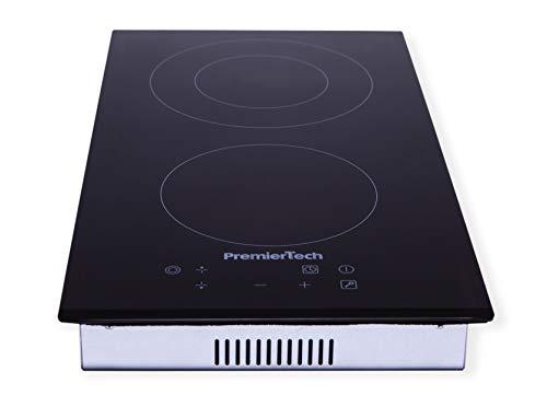 PremierTech PT-PC2C hobs Negro Integrado Cerámico - Placa (Negro, Integrado, Cerámico, Vidrio y cerámica, 1200 W, Alrededor)