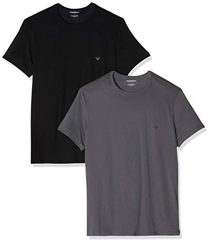 Emporio Armani Underwear Herren 2 Pack T Shirt Multipack Pure Cotton Businesshemd, Schwarz (Nero/Antracite 70120), Medium (Herstellergröße:M) (2er Pack)