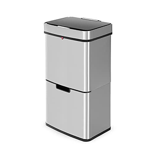 Hailo Öko Vario XL Sensor Mülltrennsystem 54l   2x25 l + 1x4 l   Vollautomatische Deckelöffnung   Anti-Fingerprint Mülleimer vollautomatisch   Smart Mülleimer   Sensor Mülltrenner   Edelstahl