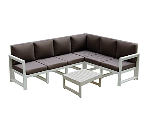 Gartenmöbel aus Holz Gartensofa Gartengarnitur mit Auflagen Lounge Möbel Verschiedene Varianten MCH (6.SW+TE.SW (245,5x187,5x82), Hellbraun)