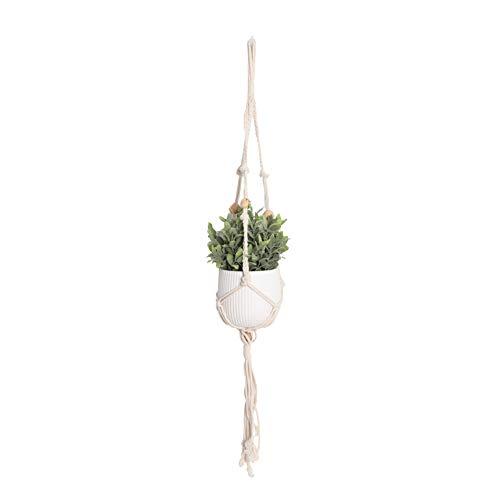 Mr.do® Suspension Plante Macramé Decoration Porte Plantes Intérieur ou Extérieur Beige Coton Corde avec Perles en Bois Design Scandinave