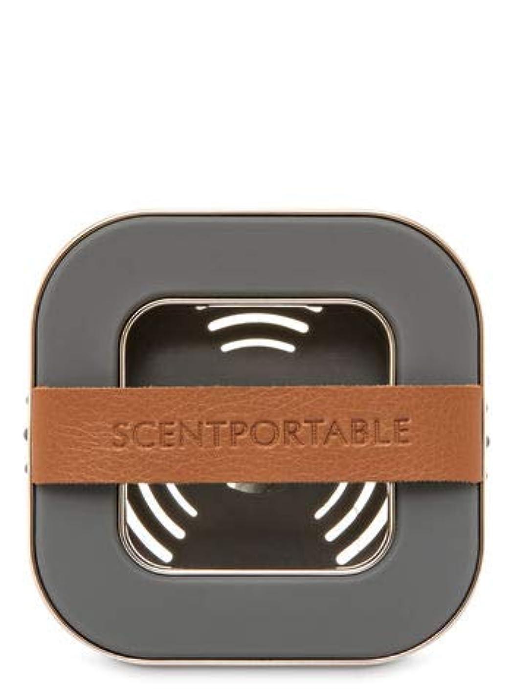 ライム数学者有益【Bath&Body Works/バス&ボディワークス】 車用芳香剤 セントポータブル ホルダー (本体ケースのみ) バンドレザー Scentportable Holder Banded Leather Beveled Square Vent Clip [並行輸入品]