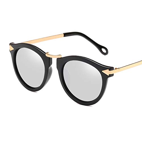 Gafas De Sol con Forma De Ojo De Gato para Mujer, Gafas De Sol con Forma De Flecha, Gafas De Sol Vintage para Mujer, Gafas De Sol para Mujer, Gafas De Sol con Flores, Negro-Plata
