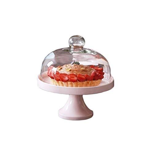 Dishware-CDQing Brotkäse Behälter Käseplattenabdeckungen Chip & Dip Server, Keramik Steak Tablett und Glasdeckel Restaurant Salat Cheese Dome Blau/Rosa 9 / 11inch Backen Von Gebäck Werkzeuge