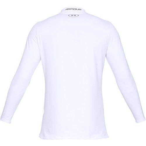 Under Armour Men's ColdGear Armour Fitted Mock Long-Sleeve T-Shirt , White (100)/Steel , Large