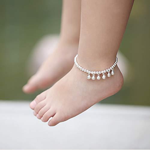 HXML Glocken Fußkettchen 925 Sterling Silber Perlen Fuss-Kettchen Junge Mädchen Kind Weihnachts Geschenk,Length 19cm