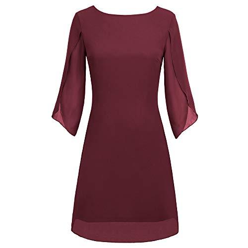 Vestido Ancho Gasa para Mujer Elegante Manga Corta Top Cuello Redondo Camiseta para Verano Primavera Vino Rojo XL Cl011125-1