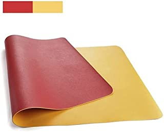 Desk Mat Laptop Pad Waterproof Gaming Portable Home Office Game Mouse Pad Desk Writing Mat Easy Clean PU Leather (Red & Ye...