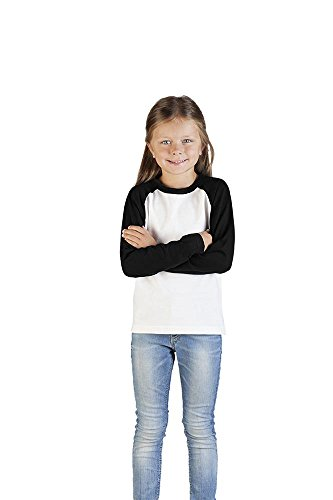 Promodoro Raglan Baseball Langarmshirt Kinder, 128, Weiß-Schwarz