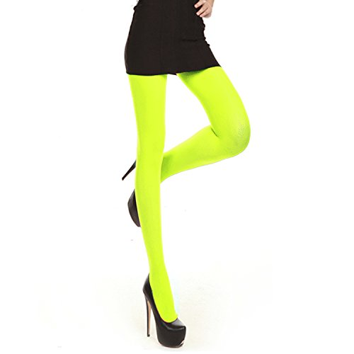 Libella Damen bunte Neon Strümpfe in Klassischen & Trendfarben Bonbon Farben Microfaser Strumpfhose Neongrün 01 S
