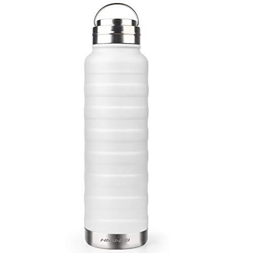 Isolierflasche Vakuum-Thermosflasche BPA-Frei Trinkflasche 24 H Warmhalten Thermoflasche Wasserflasche Auslaufsicher Edelstahl für das Laufen, Fitness, Yoga, Im Freien und Camping (Weiß, 1000ml)