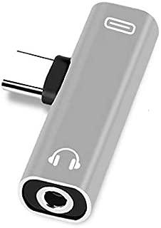 Alician Dual Type C USB-C Earphone Headphone Audio Charging Charger Adapter Splitter Convertor for Xiaomi 6 6X 8 Note3 Mix 2 Huawei Mate 10 P20 Silver Transfer 3.5mm+type-c