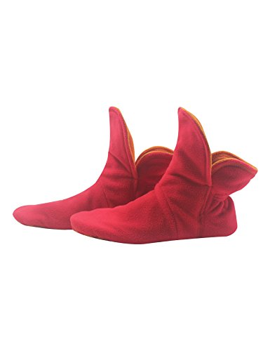RAIKOU Hausschuhe für Damen, Herren für drinnen aus Micro Fleece mit ABS und Rutschfester Sohle,Haussocken Stoppersocken mit Super Flauschige Hüttenschuhe (Rot/Orange,40/43)