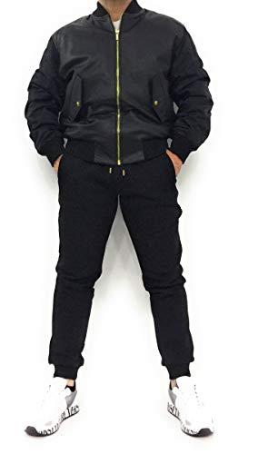 Versace Jeans Couture Lederjacke mit Ärmeln aus Textil. Taschen mit Patte und Druckknopf. Anwendung hinten mit Logo.Verschluss mit Reißverschluss, Schwarz 50