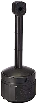"""Justrite 26806D Polyethylene Personal Smokers Cease Fire Cigarette Butt Receptacle, 1 Gallon Capacity, 11"""" OD x 30"""" Height, Deco Black"""