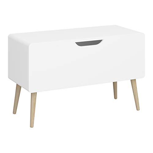 Steens GAIA Spielzeugkiste für das Kinderzimmer, 50x35x80 (H/T/B), MDF Holz, Weiß, praktisch & mit viel Stauraum, einfache Öffnung der Kiste durch eine Klappe