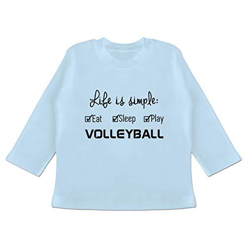 Sport Baby - Life is Simple Volleyball - 18/24 Monate - Babyblau - BZ11 - Baby T-Shirt Langarm