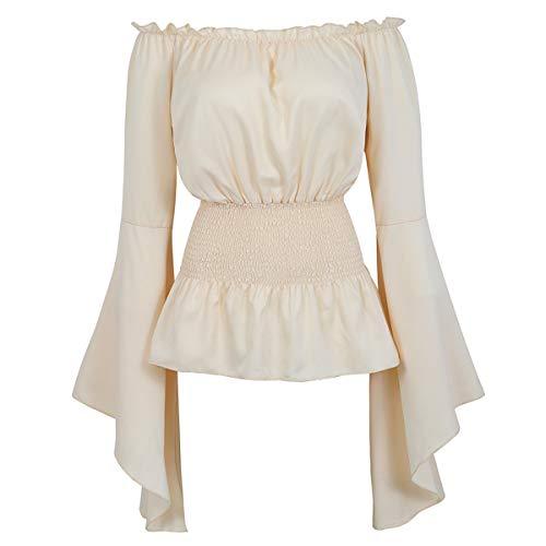 Women Renaissance Medieval Blouse Off Shoulder Smocked Waist Pirate Shirt Tops Beige Small