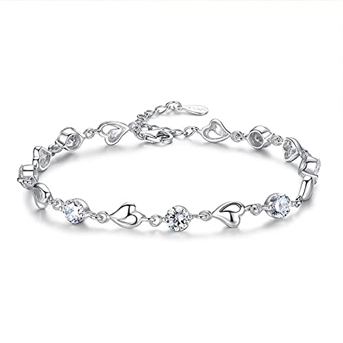 bracciale donna Braccialetto d'argento di cristallo regolabile Braccialetto in argento placcato gioielli in oro bianco zirconi fidanzata amicizia regali braccialetto donna ( Color : White diamond )
