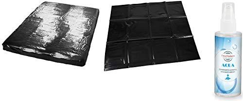 Lackspannbettlaken Latex Laken Set Spannbettlaken Bettlaken Größe 1,60 x 2,00 Meter Lack-Spannbettlaken mit Kissenbezug 80x80 cm & 100 ml. Gleitgel schwarz für Massage Öl Erotik Sex Untelage
