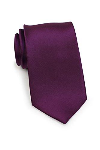 Bows-N-Ties Men's Necktie Solid Color Microfiber Satin Tie 3.25 Inches (Plum Purple)