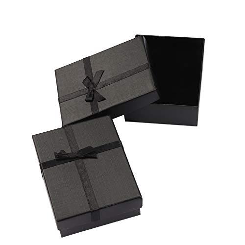 Cajas de Regalo Joyeria (Pack de 12) - (8,5x6,5x2,5cm) Cajas de Regalo con Inserto Espuma - Caja de Regalo de Presentación con Diseño de Lazo y Cinta para Collares y Pulseras (Negro)