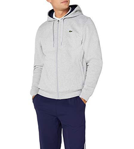 Lacoste Sport Herren Sh7609 Sweatshirt, Grau (Argent Chine/Marine), Medium (Herstellergröße: 4)