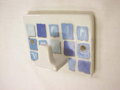 Percha Colgador Gancho Colgar Individual Cubo Pared BAÑO Porcelana Mosaico Azul