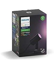 Philips Hue Lily Tuinspot 1-Lichts Uitbreiding - Buitenlamp - IP65 - Duurzame LED Verlichting - Wit en Gekleurd Licht - Dimbaar - Verbind met Hue Bridge - Werkt met Alexa en Google Home - Zwart