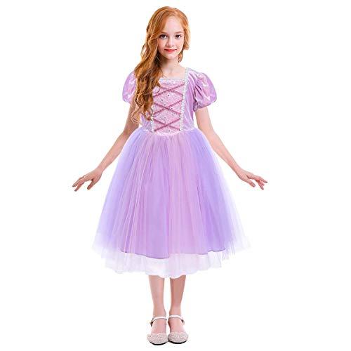 IMEKIS Disfraz de Rapunzel para nias, disfraz de princesa, cosplay, elegante, floral, encaje, fiesta, tul tut, boda, cumpleaos, concurso, vestido de baile para Halloween, carnaval, Navidad