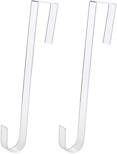 Non Scratch 100 Clear 12In Xmas Wreath Hanger 2 Pk Best Long Hooks for Indoor or Outdoor Holiday product image
