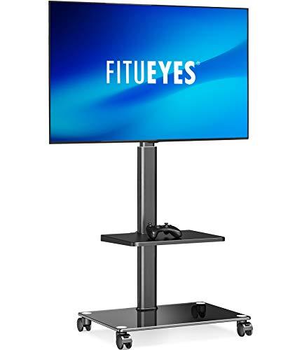 『FITUEYES テレビスタンド 32~55インチ対応 キャスター付き 二段 高さ角度調節可能 移動式 ブラック TT206002GB』の1枚目の画像